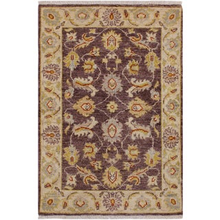 1990s Vintage Contemporary Ziegler Kafkaz Stein Brown/Ivory Wool Rug - 2′ × 2′11″ For Sale