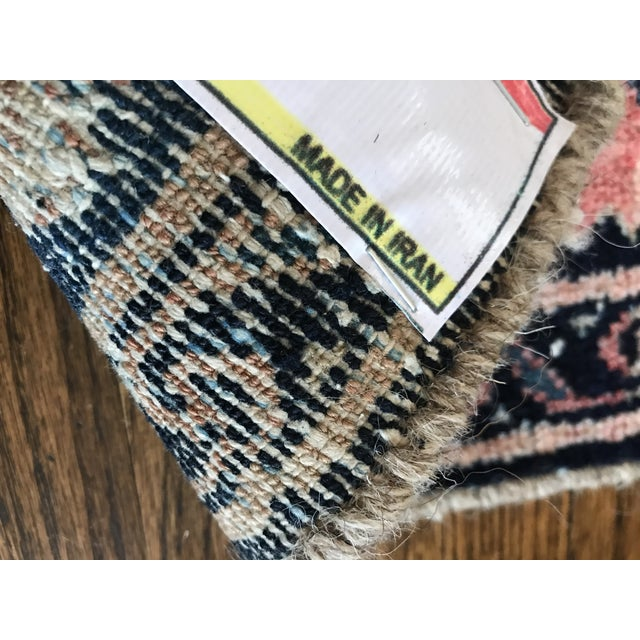 Blush and Navy Persian Rug For Sale In Minneapolis - Image 6 of 10