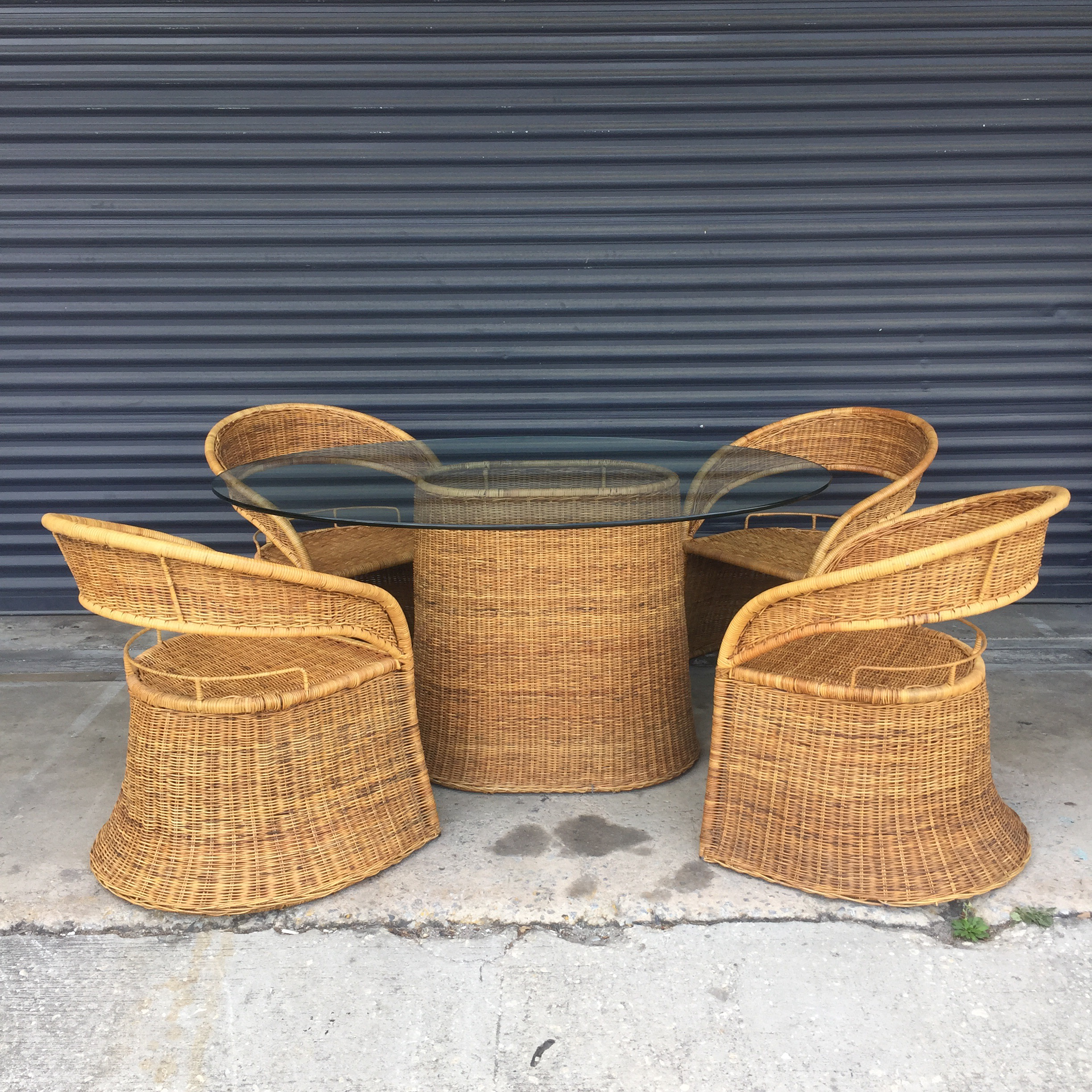 Vintage Wicker Dining Set. Oval Column Table Base With Oval Glass Top. Four  Round