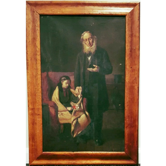 19th Century Antique Oil Painting, Doctor's Visit - Image 1 of 6