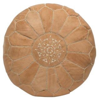 Embroidered Leather Pouf, Naturel For Sale