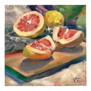 1998 Elin Pendleton Original Still Life with Grapefruit Signed Oil on Board Painting For Sale