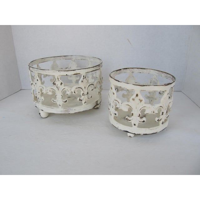 Distressed Fleur de Lis Candle Holders - A Pair For Sale - Image 4 of 4