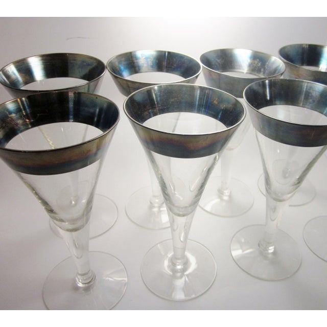 Vintage Mid Century Modern Dorothy Thorpe Style Sterling Silver Rimmed Triangle Fluted Wine Martini Cocktail Stemware - Set of 8 For Sale - Image 9 of 10