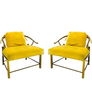 Pair of Brass Ming Lounge Chairs With Yellow Velvet For Sale