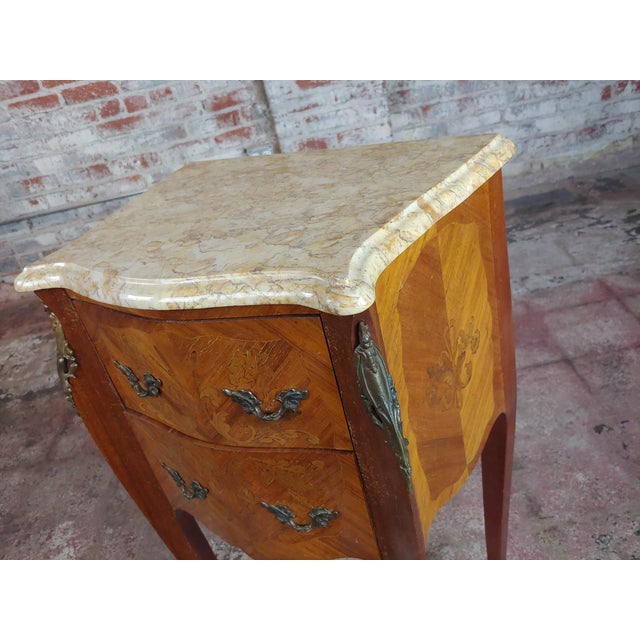 Brown Antique French Marquetry Petit Commodes W/Marble Top - a Pair For Sale - Image 8 of 10