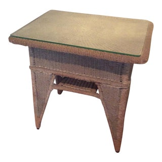 Antique Wicker Side Table With Glass Top For Sale