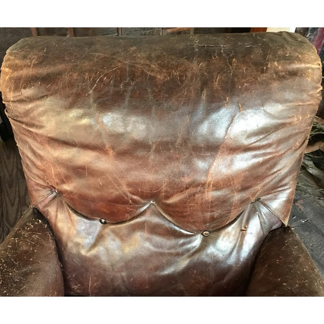 Old, Distressed Leather Club Chair - Image 5 of 10