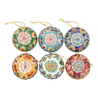 Champlevé Cloisonné Ornaments, Set of 6 For Sale