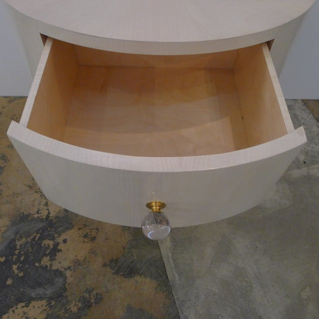 Wood Italian-Inspired 1970S Style Oval Nightstand For Sale - Image 7 of 8