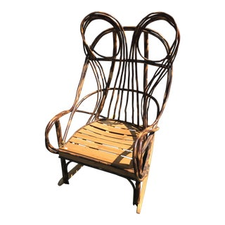 Lodge Wicker Rocking Chair For Sale