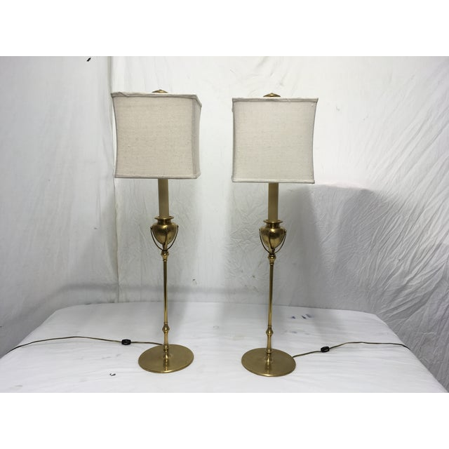 Chapman Brass Modernist Style Lamps, a Pair For Sale - Image 10 of 10