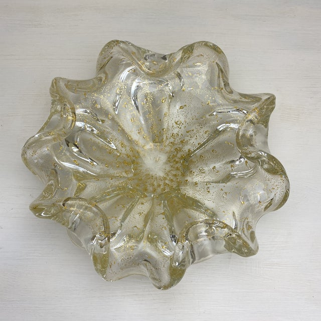 Murano Gold Fleck Glass Bowl For Sale - Image 9 of 9