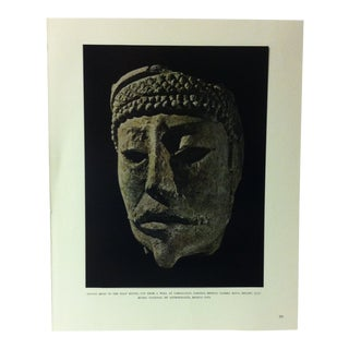 """Circa 1960 """"Stucco Head in the Half Round"""" Treasures of Ancient America Mounted Print For Sale"""
