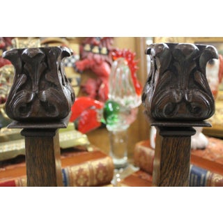 Antique English Carved Oak Acanthus Pair Candlesticks Candle Holders - Set of 2 Preview