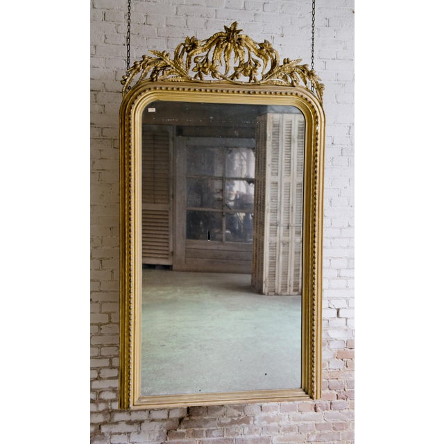 Gold Elaborate Decorated 19th Century Mirror For Sale - Image 8 of 8