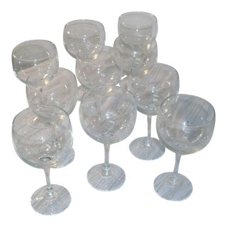 French Luminarc Clear Balloon Wine Glasses Unused Stock in Box - Set of 10 For Sale