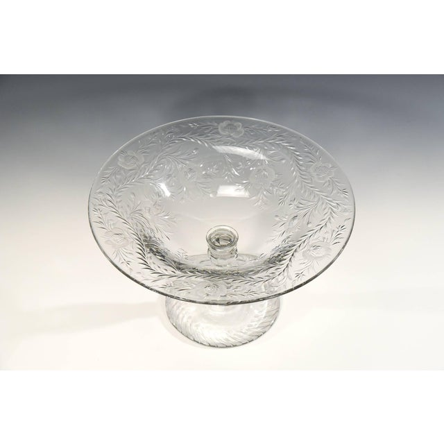 Art Nouveau Webb Monumental Blown Crystal Footed Centerpiece w/ Wheel Cut Floral Engraving For Sale - Image 3 of 7