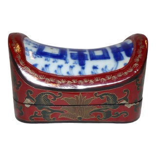 Early 19th Century Antique Asian Trinket Box, Saddle Shaped With Blue & White Ceramic Top For Sale