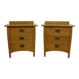 Pair Stickley Mission Oak Arts & Crafts Nightstands For Sale