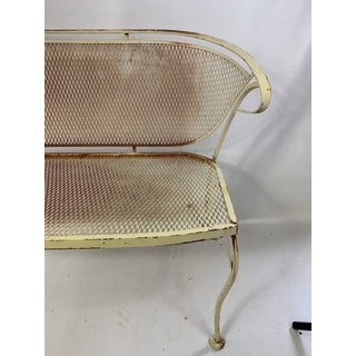 1950s Vintage Russell Woodard CastIron Mesh Outdoor Bench Preview