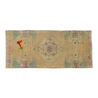 Low Pile Turkish Yastik Rug Hand Knotted Distressed Mat Bath Rug Kitchen Sink Rug - 16'' X 32'' For Sale