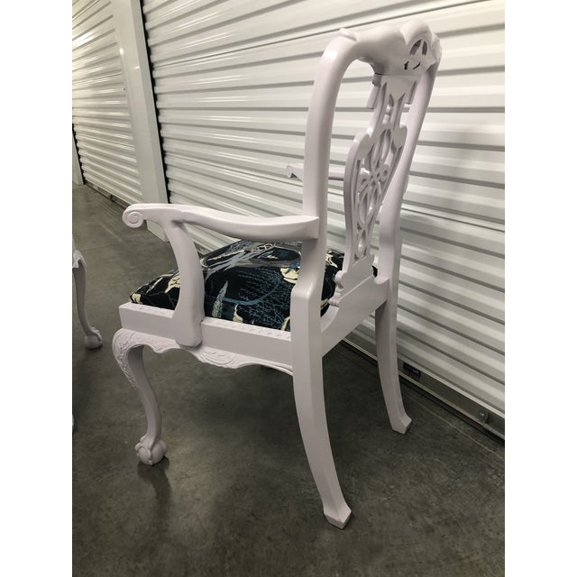 Fabric Modern Lacquered Chippendale Chairs- Set of 6 For Sale - Image 7 of 11