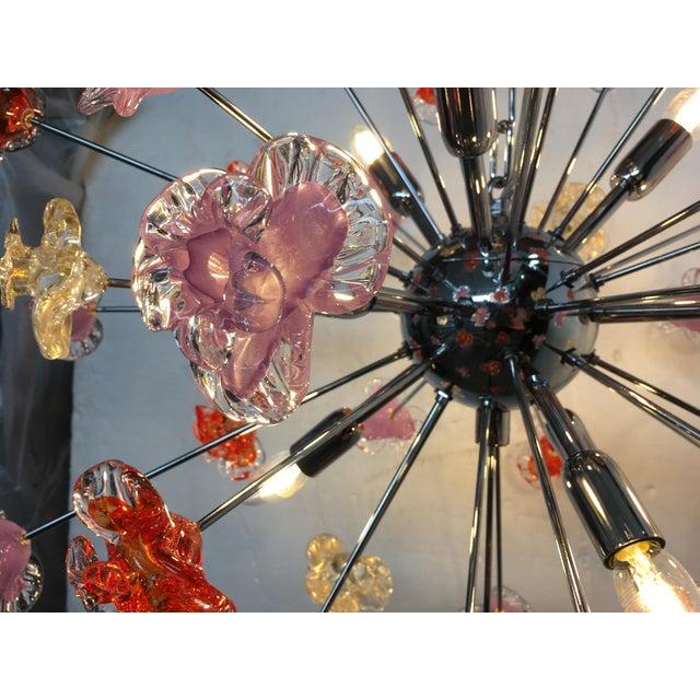 Metal Murano Glass Sputnik Flower Chandelier For Sale - Image 7 of 8