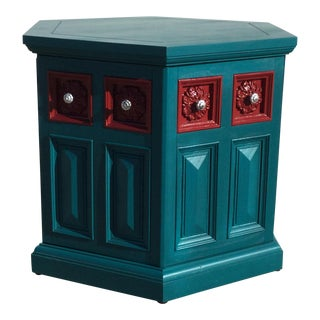 Octagonal Aqua & Red Side Table For Sale