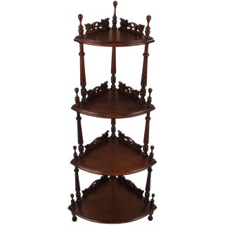 1960s Vintage Mahogany Four Tier Carved Corner Shelf For Sale