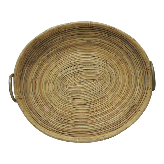 Vintage Bent Oval Rattan Serving Tray With Antique Brass Finished Handles For Sale