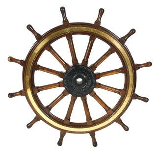 A very large-scale mahogany, iron and brass ship's wheel, English, circa 1900 For Sale