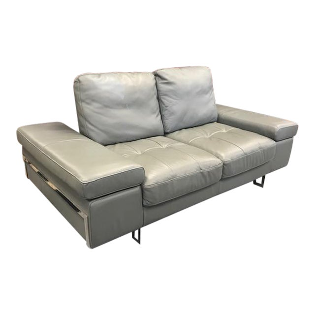 Grey Leather Convertible Love Seat For Sale