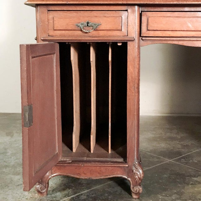 Grand 19th Century Louis Philippe Mahogany Desk With Bookcase For Sale - Image 12 of 13