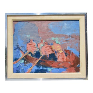 1970s Vintage Expressionist Rowers Framed Painting For Sale