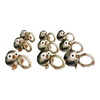 Fitz & Floyd Owl Napkin Rings-Set of 9 For Sale
