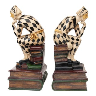 Mid 20th Century Vintage Seated Venetian Harlequin Bookends - a Pair For Sale