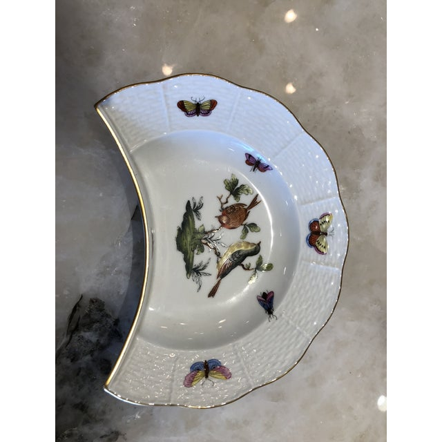 White English Traditional Herend Hand Painted Rothchild Bird Porcelain Crescent-Shaped Salad Plate For Sale - Image 8 of 8