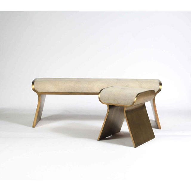 Dandy Day Bench in Cream Shagreen and Bronze-Patina Brass by Kifu Paris For Sale In New York - Image 6 of 10