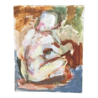 Small Abstract Nude Woman on Canvas Painting For Sale