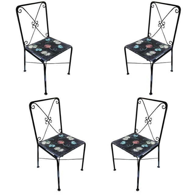 Scrolling Iron Patio/Outdoor Lounge Chair W/ Pad Seat - Set of 4 For Sale - Image 11 of 11