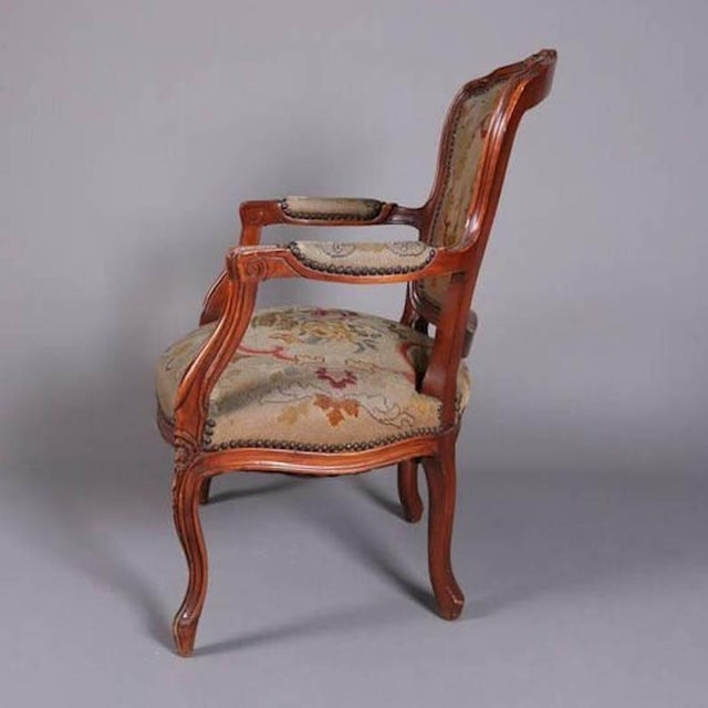 French Antique French Louis XVI Carved Fruitwood Armchair With Needlepoint For Sale - Image 3 of 7