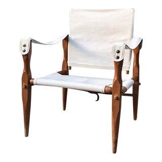 Teak & Canvas Danish Safari Chair