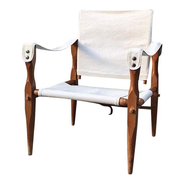 Teak & Canvas Danish Safari Chair For Sale