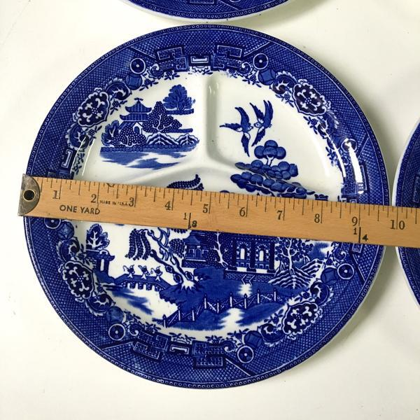 Boho Chic August Hashagen New York Blue Willow Grill Plates Made in England - Set of 6 For Sale - Image 3 of 9