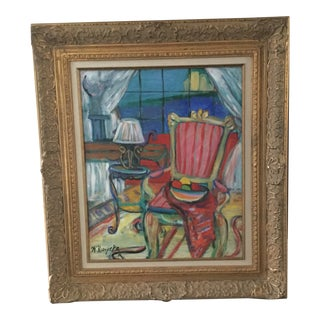 """Contemporary """"The Red Room"""" Painting in Gilded Frame For Sale"""