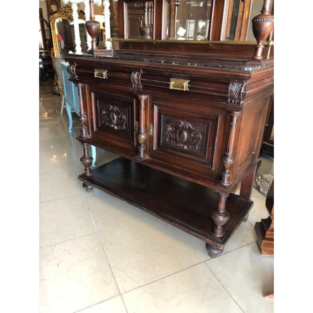 French Antique French Marble Top Cupboard Server For Sale - Image 3 of 8