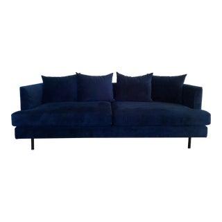 Modern Midnight Blue Velvet Sofa For Sale