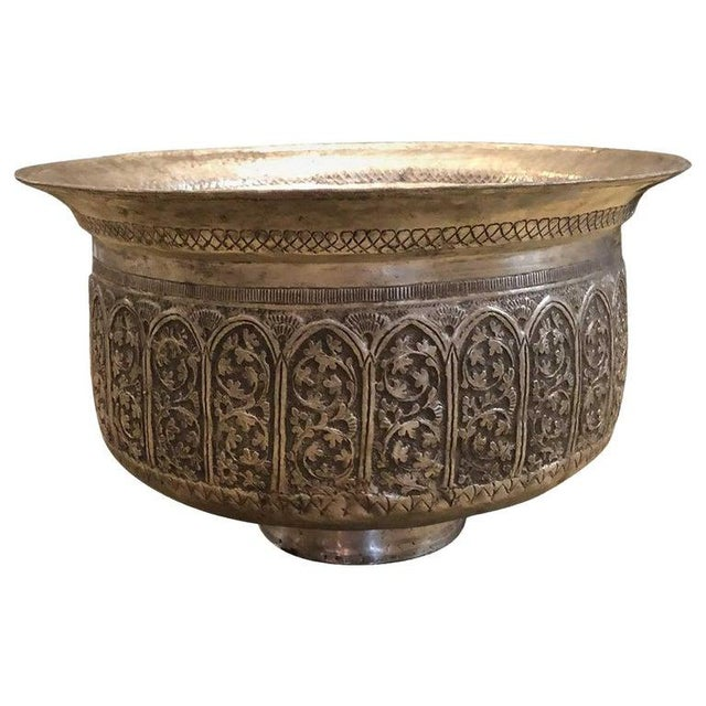 1920s Antique French Persian Motive Hammered and Engraved Bowl For Sale - Image 5 of 5
