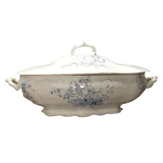 Blue & White Transferware Tureen For Sale